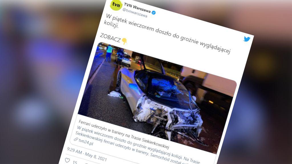 Ferrari rozbite na Trasie Siekierkowskiej