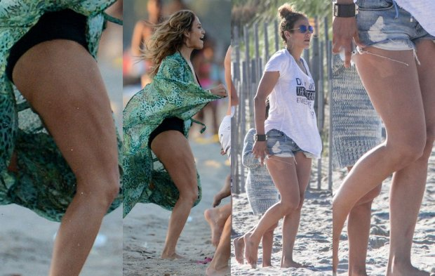 Jennifer Lopez na plaży w maju 2013 i  w sierpniu 2014 roku