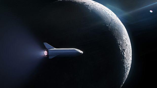 Statek BFS na tle Księżyca - wizualizacja