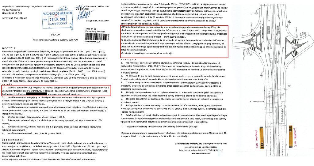 Decyzja konserwatora w sprawie fotoradarów na moście Poniatowskiego w Warszawie