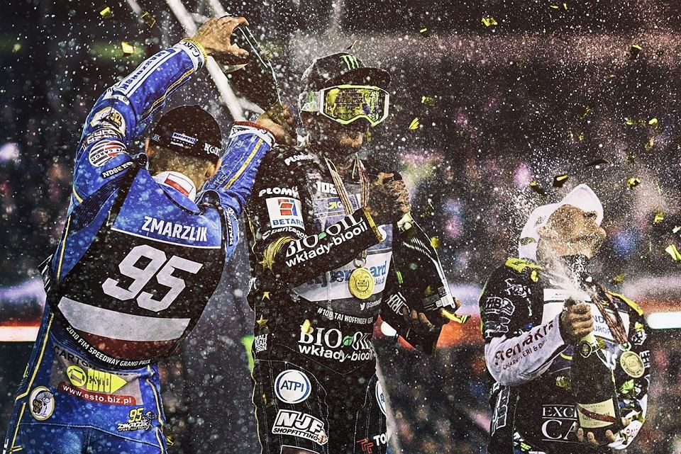 Najlepsza trójka Grand Prix 2018. Od lewej: Bartosz Zmarzlik, Tai Woffinden i Fredrik Lindgren