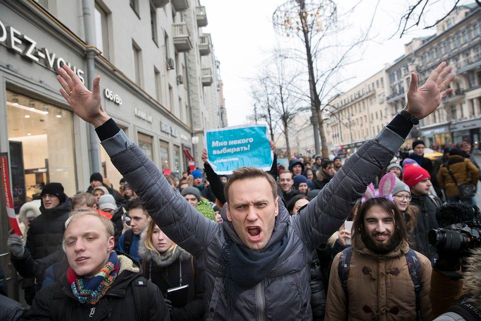 28.01.2018, Moskwa, Aleksiej Nawalny na manifestacji prodemokratycznej.