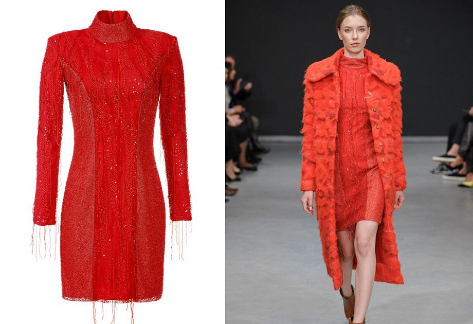 Sukienka z cekinami Tomaotomo ma modny dekolt ze stójką