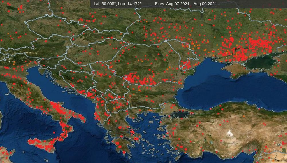 Pożary w Europie w ciągu ostatnich trzech dni - 7-9 sierpnia 2021 r.