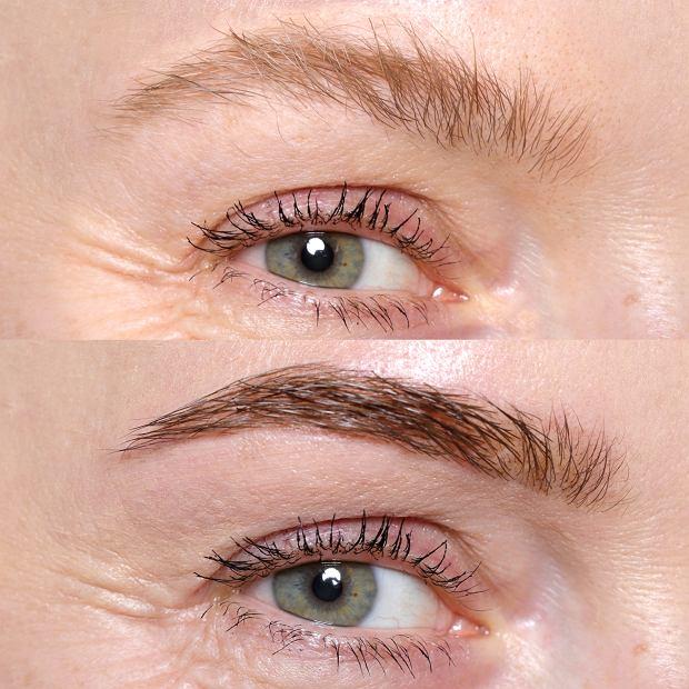 Brwi przed i po nitkowaniu i depilacji