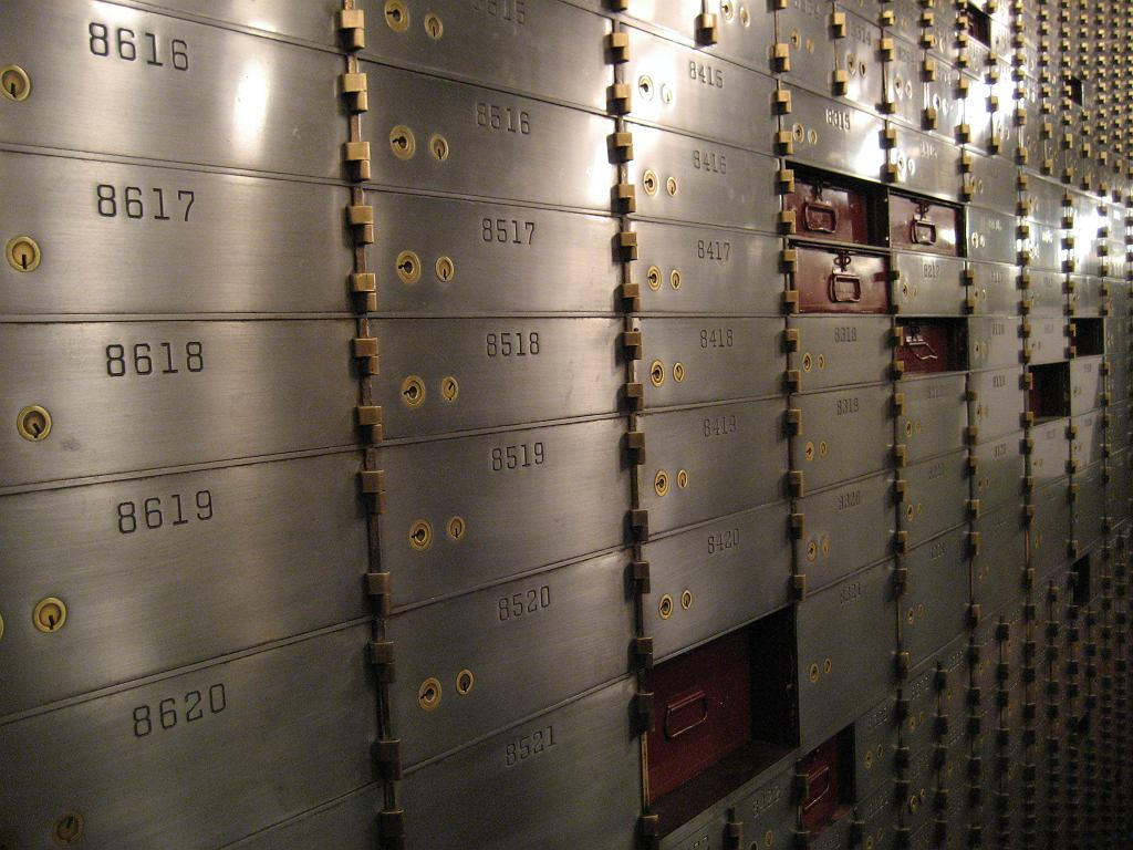 Safe deposit box room in the San Diego Courtyard Marriott