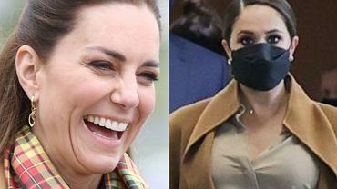 """Meghan Markle zachwyciła beżowym """"lookiem"""", ale skopiowała go. Księżna Kate wyglądała tak w maju. A nawet lepiej!"""