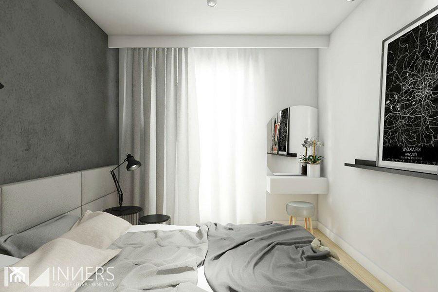 Szare ściany w sypialni