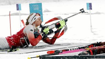 Monika Chojnisz na trasie biegu sztafetowego. Igrzyska Olimpijskie w Pjongczangu. Korea, 22 lutego 2018