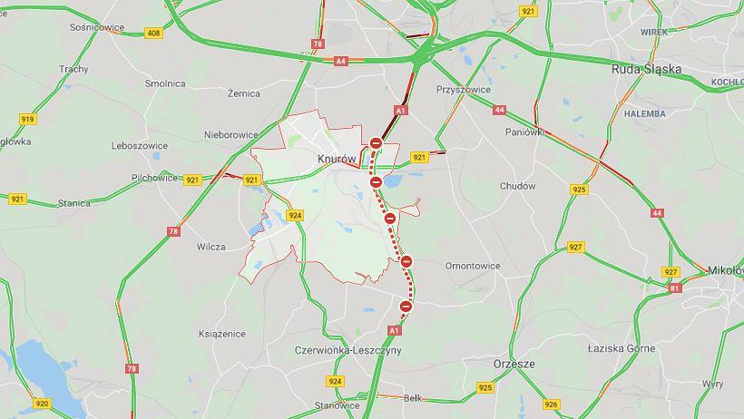 Wypadek na autostradzie A1 w Knurowie