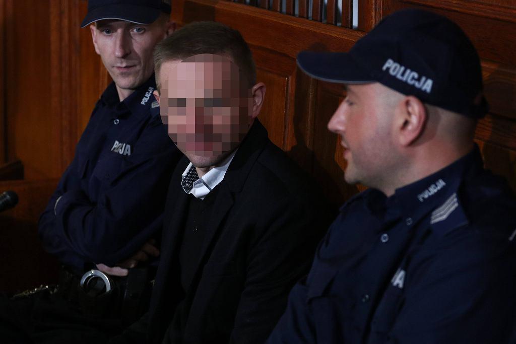 Marcin P. na sali rozpraw.