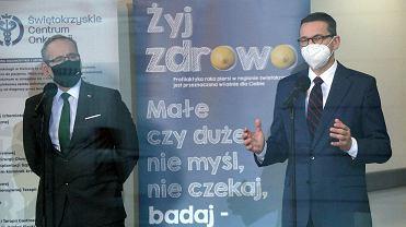 Kielce 4.02.2021, wizyta premiera Mateusza Morawieckiego i ministra zdrowia Adama Niedzielskiego w Świętokrzyskim Centrum Onkologii.