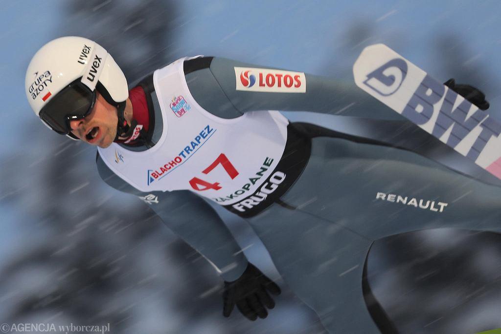 Piotr Żyła podczas zawodów Pucharu Świata. Zakopane, Wielka Krokiew, 13 lutego 2021