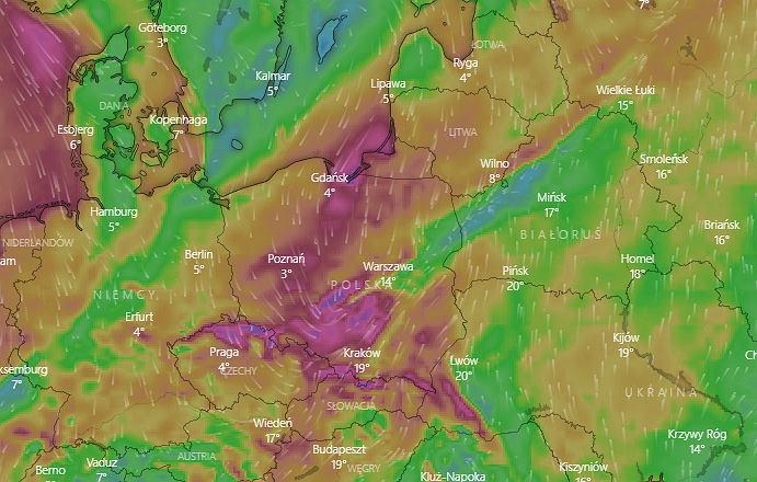 Prognoza porywów wiatru na poniedziałek, godz. 23:00. Screen wykonany 10.05 o godz. 18:15
