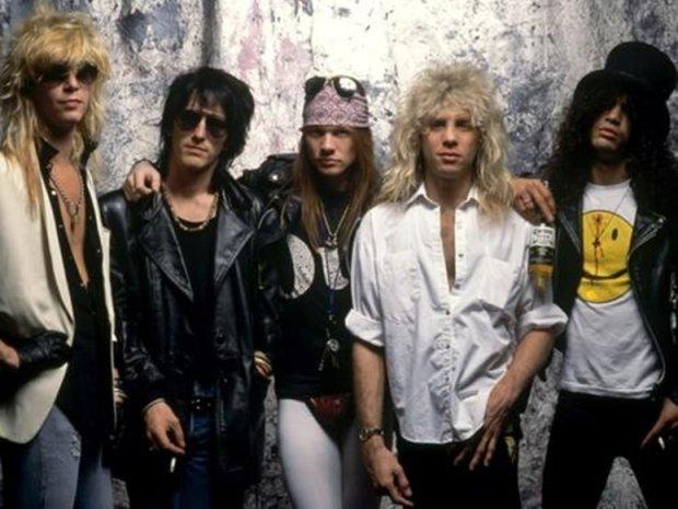 Legendarny skład Guns N'Roses: Duff McKagan, Izzy Stradlin, Axl Rose, Steven Adler, Slash