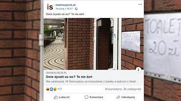 W Świnoujściu za skorzystanie z toalety w jednym z lokali gastronomicznych trzeba zapłacić 20 zł