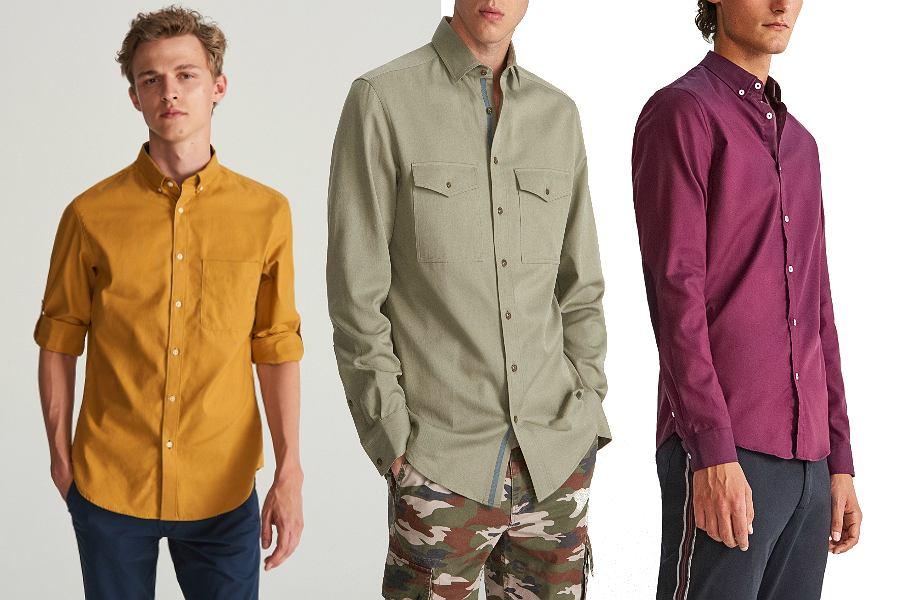 Kolorowe koszule z wyprzedaży