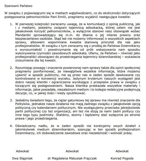 Oświadczenie pełnomocników Emilii S.