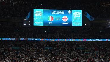 Euro 2020. Po zakończeniu półfinału na Wembley na telebimie pojawiła się informacja o finałowym spotkaniu pomiędzy Włochami i Anglią w niedzielę 11 lipca