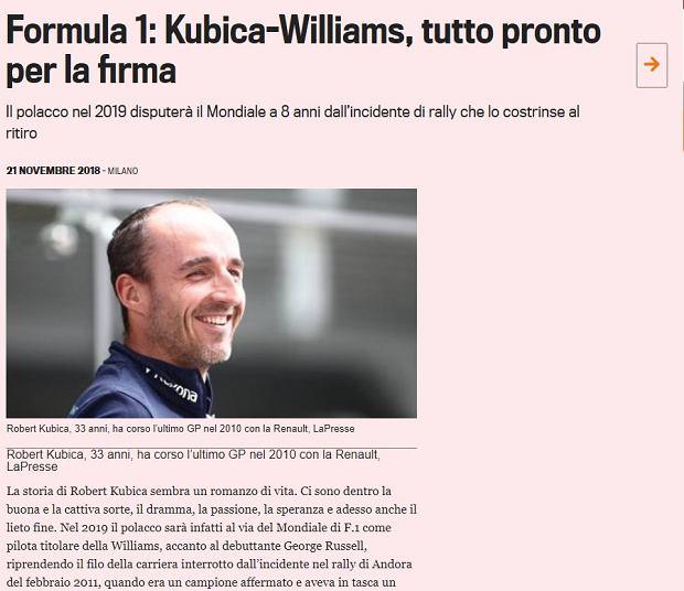 Robert Kubica wraca do Formuły 1