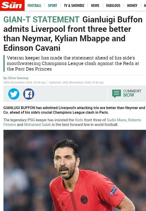 Gianluigi Buffon chwali ofensywę Liverpoolu