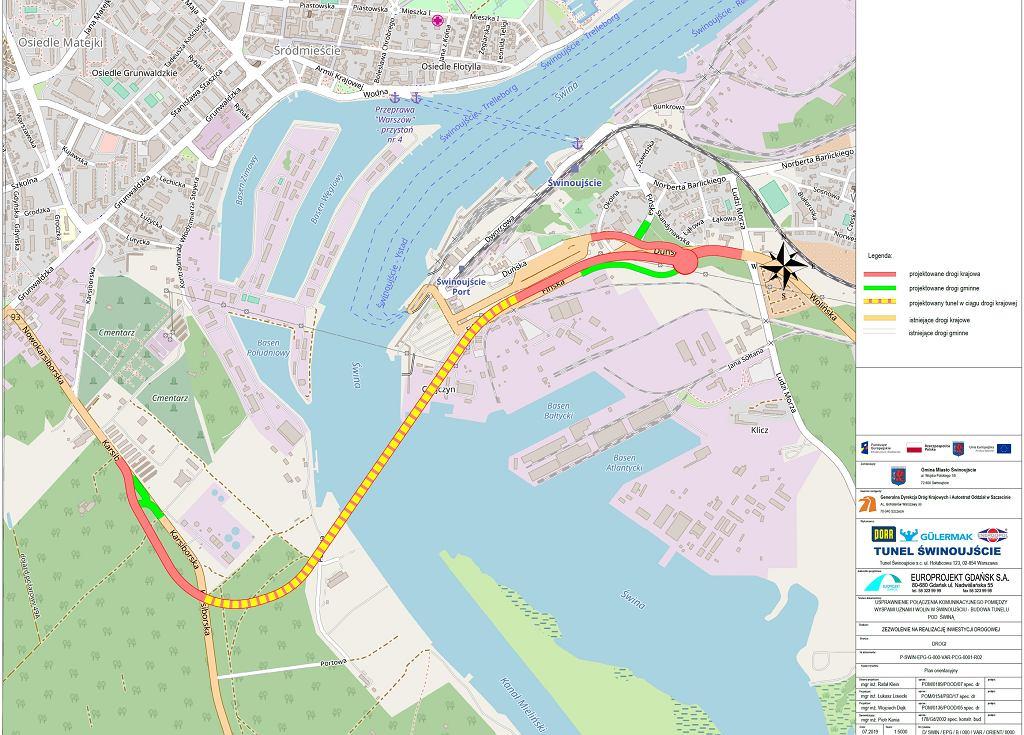Plan orientacyjny tunelu w Świnoujściu