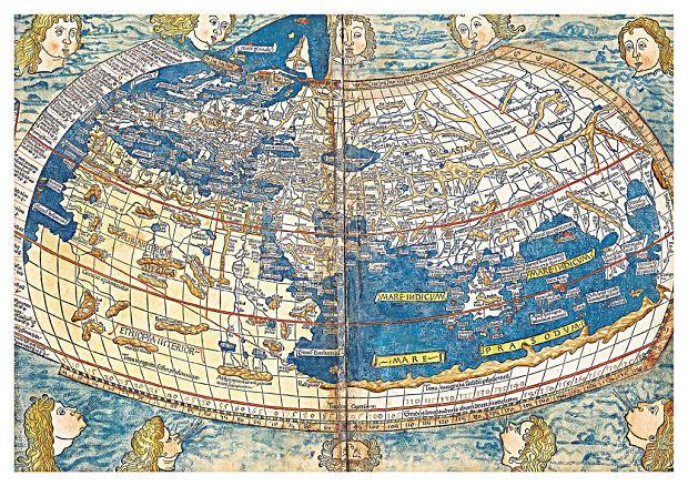 Renesansowa mapa wykorzystująca współrzędne Ptolemeusza wydrukowana przez Nicolausa Germanusa w Ulm w 1482 roku