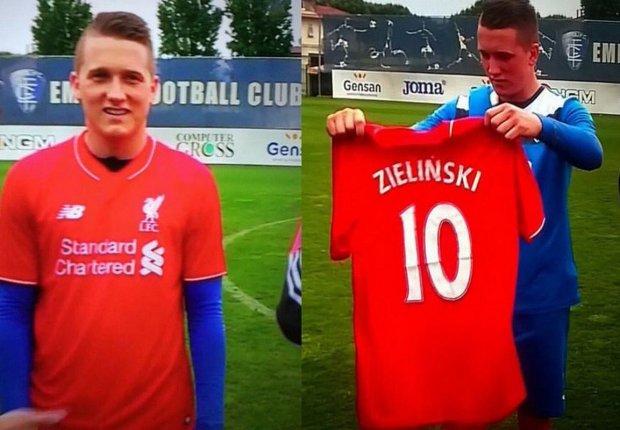 Piotr Zieliński na antenie Canal+ zaprezentował się w koszulce Liverpoolu