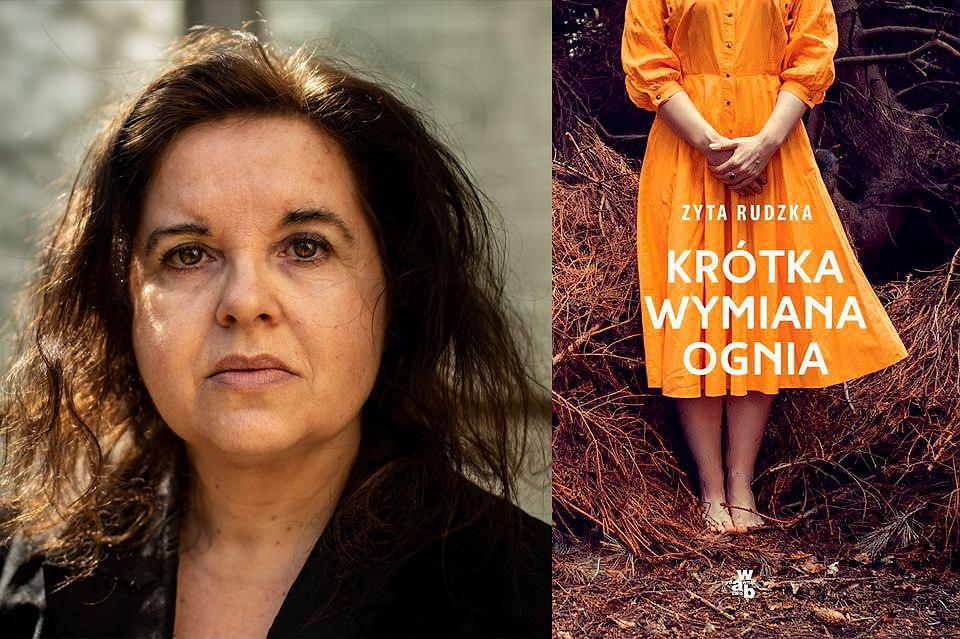 Zyta Rudzka i okładka jej książki 'Krótka wymiana ognia' / Dawid Żuchowicz/Agencja Gazeta