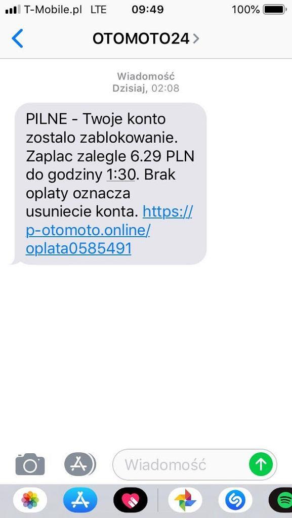 Fałszywe wiadomości SMS informujące o niedopłacie