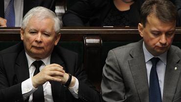 Jarosław Kaczyński i Mariusz Błaszczak podczas posiedzenia Sejmu