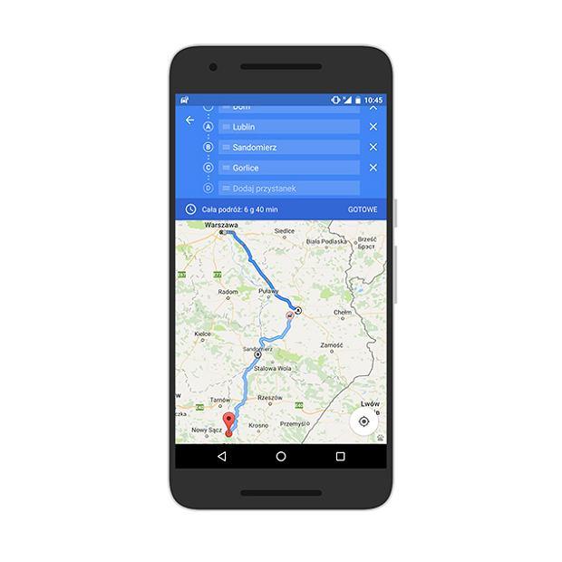 Mapy Google - punkty pośrednie