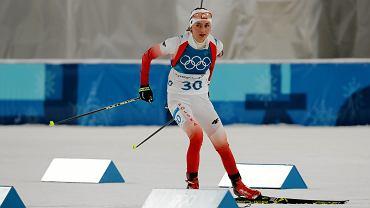 Monika Hojnisz na trasie biegu ze startu wspólnego. Igrzyska Olimpijskie w Pjongczangu. Korea, 17 lutego 2018