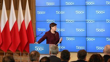 Sztandarowy projekt partii rządzącej: 'Rodzina 500 plus'. Na zdjęciu: Konferencja premier Szydło, Warszawa, 14 marzec 2016