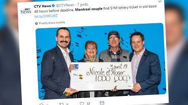 Kanada. Para znalazła zapomniany los na loterii. Wygrała milion kanadyjskich dolarów