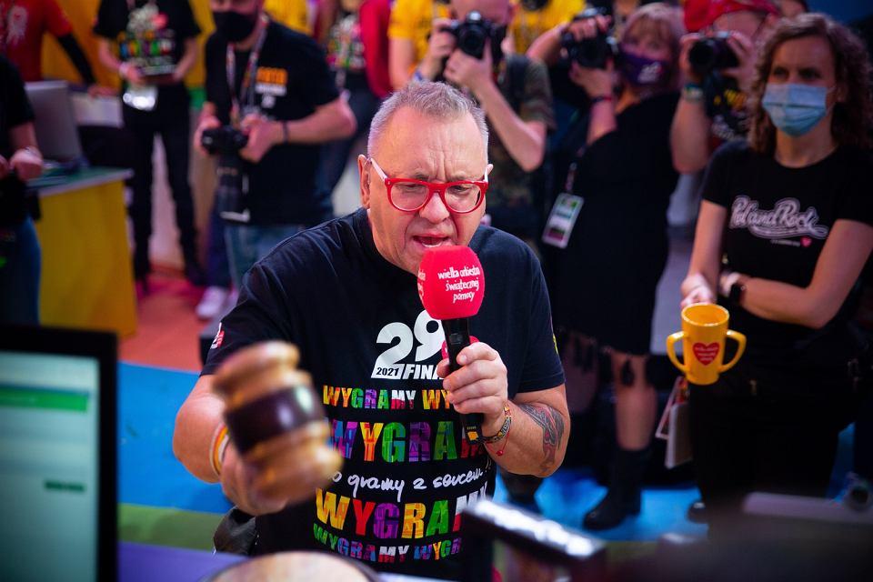 Jerzy Owsiak w studiu 29. Finału WOŚP. 31.01.2021 r.