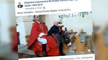 Dolnośląskie. Ksiądz wjechał do kościoła na osiołku. Internauci nie kryją oburzenia