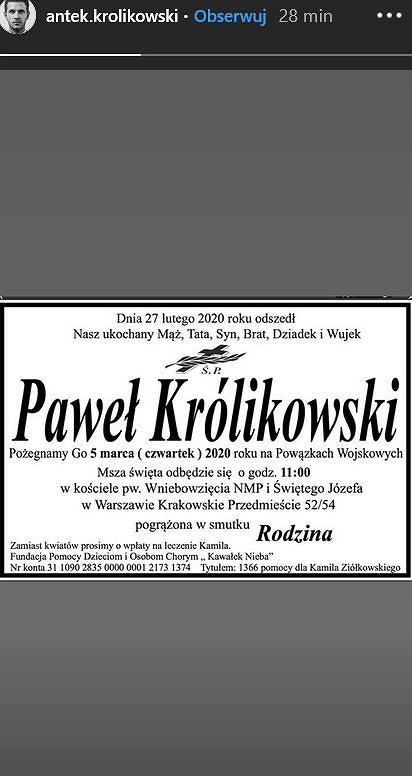Antoni Królikowski opublikował nekrolog Pawła Królikowskiego