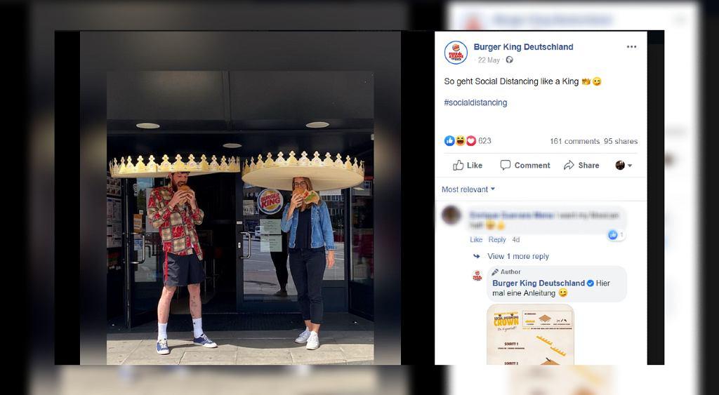 Burger King powiększa słynne papierowe korony. Mają przypominać o zachowaniu bezpiecznej odległości