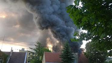 Szalejące płomienie i kłęby dymu. Hala magazynowa w Gdańsku-Oruni stanęła w ogniu