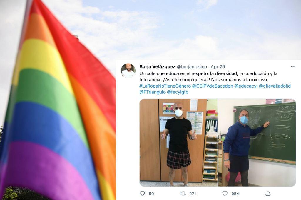 Hiszpania. Nauczyciel założyli spódnicę, aby wesprzeć dyskryminowanego ucznia
