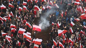 11.11.2018 r. Warszawa, Rondo Dmowskiego. Rusza Marsz Niepodległości z udziałem prezydenta RP Andrzeja Dudy