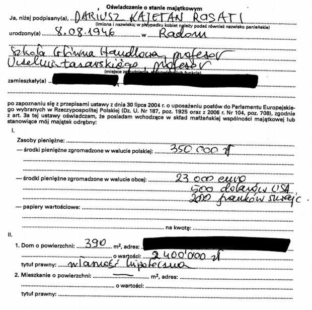 Oświadczenie majątkowe Dariusza Rosatiego