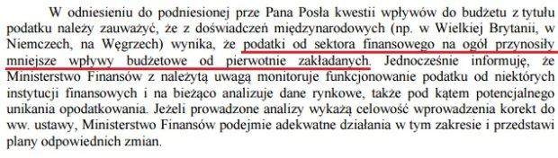 Fragment odpowiedzi wiceministra finansów na interpelację poselską