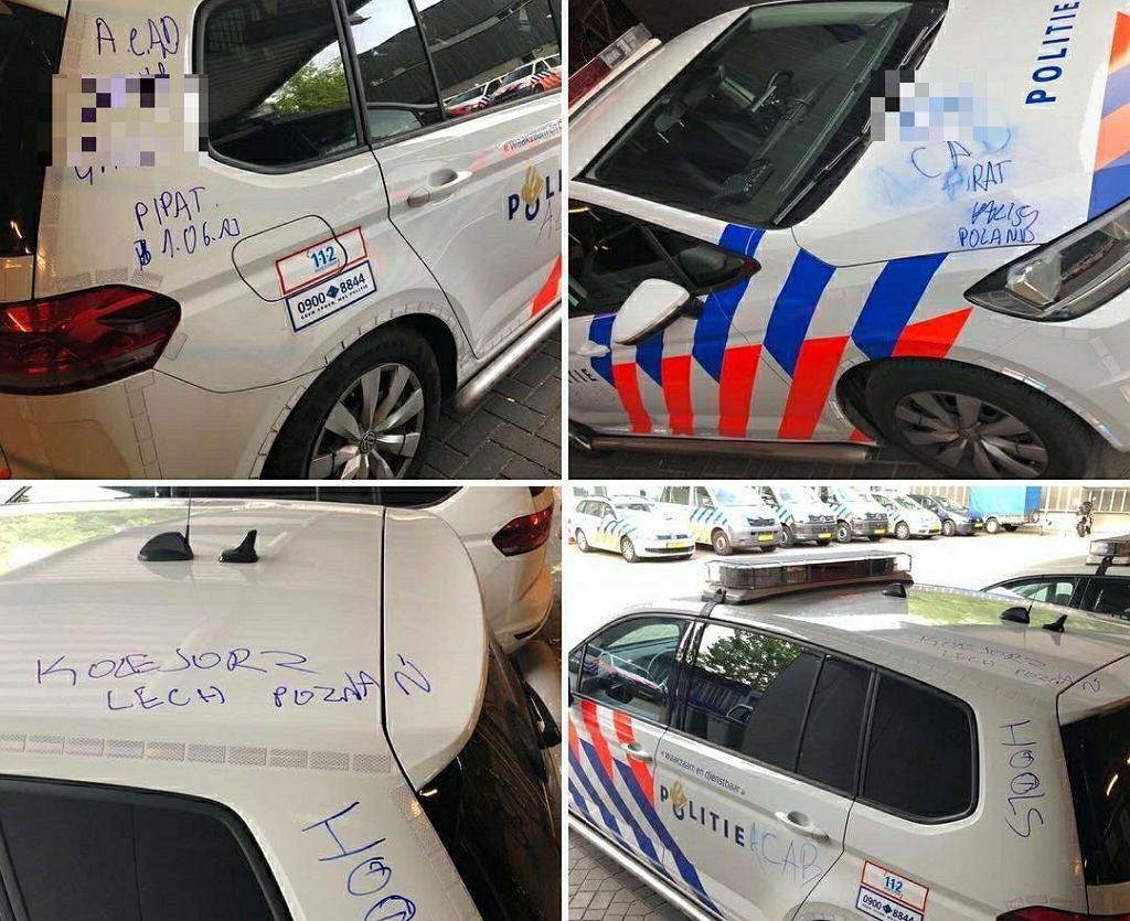 Auto policji w Eindhoven zniszczone przez wandali