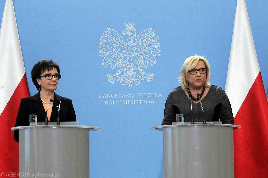 Rzecznik rządu Elżbieta Witek i Beata Kempa