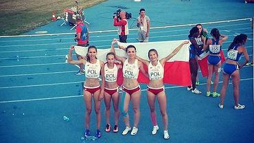 Srebrna sztafeta reprezentantek Polski. Lekkoatletyczne ME juniorek w Tbilisi. Martyna Kotwiła (pierwsza z prawej)