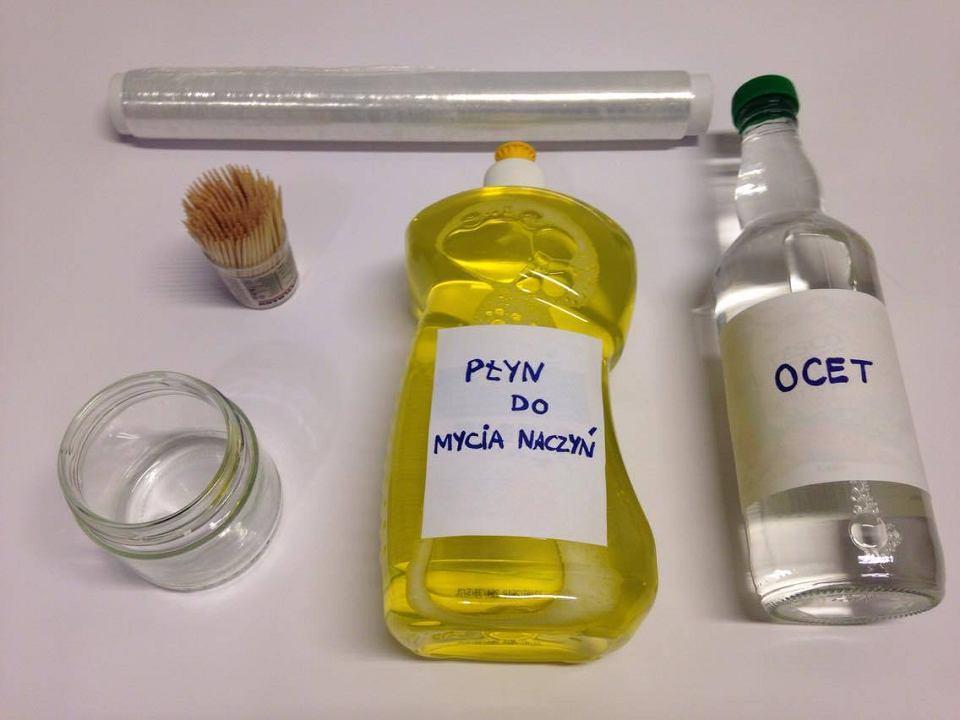 Przygotuj: ocet, płyn do mycia naczyń, słoik, folię aluminiową, wykałaczkę, gumkę recepturkę.