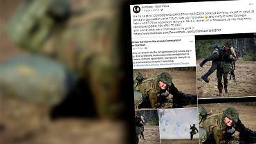 Polscy żołnierze na zdjęciach w hełmach z Photoshopa