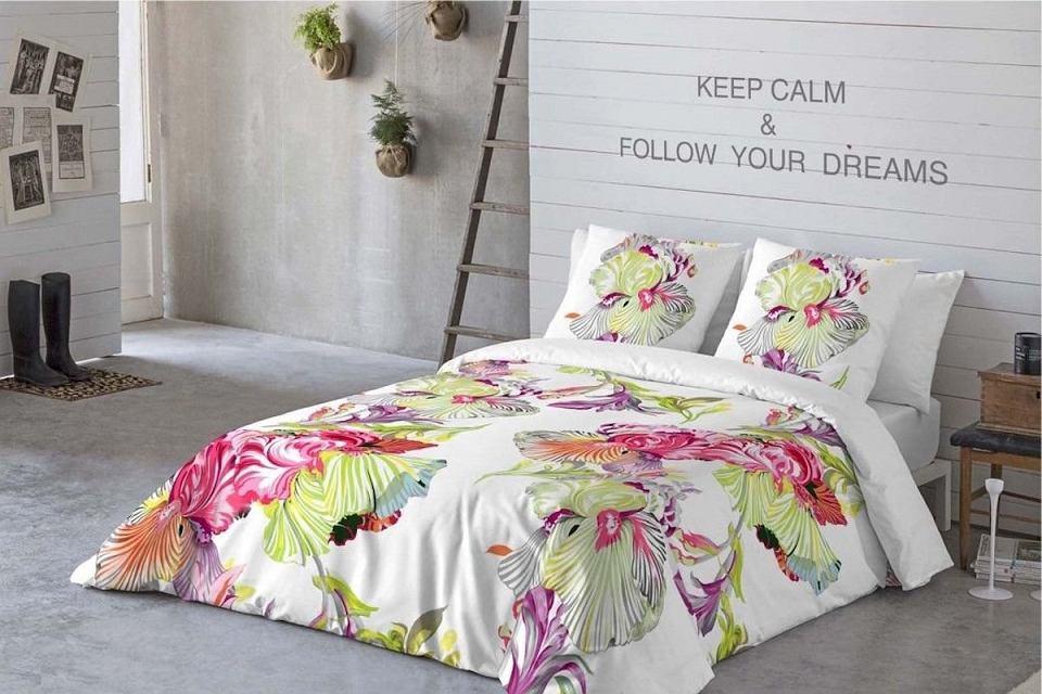 Komplet pościeli Orquidea z pięknym motywem florystycznym.